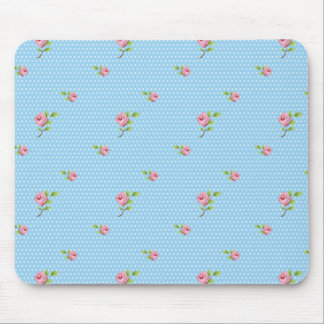 Light blue and white polka dot and pink roses mouse pad