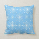Light Blue and White Snowflakes Pillow