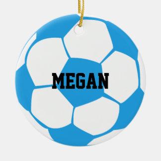 Light Blue And White Soccer Ball*Custom Ceramic Ornament