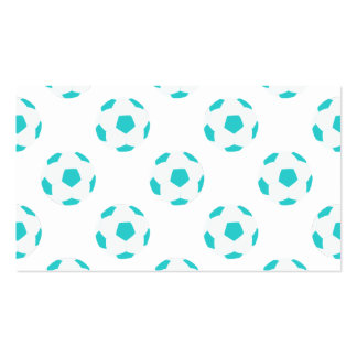 Light Blue and White Soccer Ball Pattern Business Card