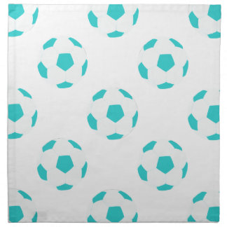 Light Blue and White Soccer Ball Pattern Cloth Napkin