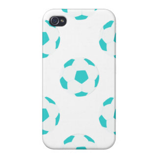 Light Blue and White Soccer Ball Pattern Case For iPhone 4