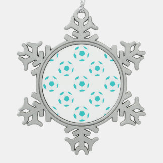 Light Blue and White Soccer Ball Pattern Snowflake Pewter Christmas Ornament