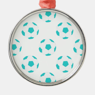 Light Blue and White Soccer Ball Pattern Round Metal Christmas Ornament