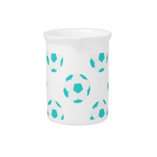 Light Blue and White Soccer Ball Pattern Pitchers
