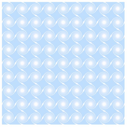 Light blue and white spiral pattern design. cut out