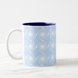 Light blue and white spiral pattern design. Two-Tone coffee mug