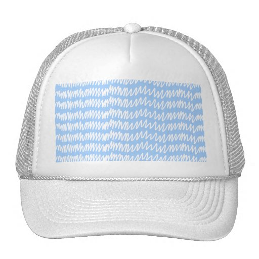 Light blue and white squiggle pattern. trucker hats