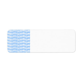 Light blue and white squiggle pattern. label