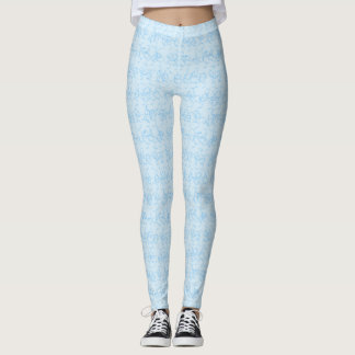Light Blue and White Squiggles Leggings