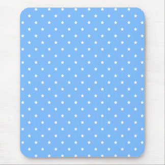 Light Blue and White. Star Pattern. Mouse Pad