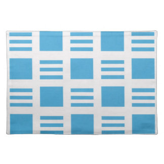 Light blue and white striped placemats