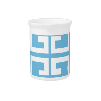 Light Blue and White Tile Drink Pitcher