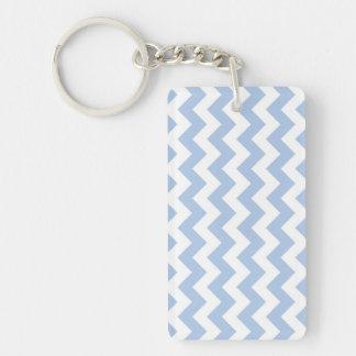 Light Blue and White Zigzag Acrylic Key Chain