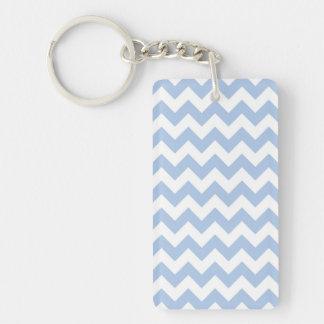 Light Blue and White Zigzag Acrylic Keychain