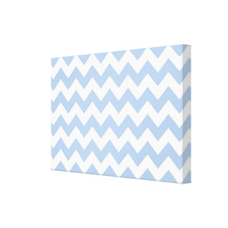 Light Blue and White Zigzag Canvas Print