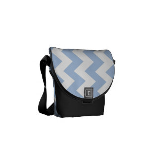 Light Blue and White Zigzag Courier Bag