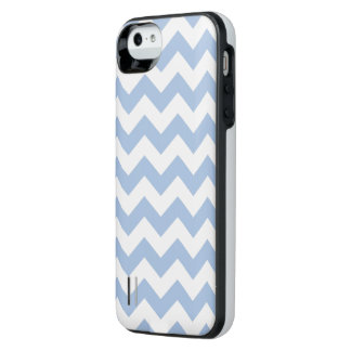 Light Blue and White Zigzag iPhone SE/5/5s Battery Case