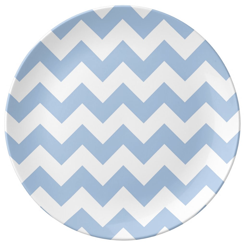 Light Blue and White Zigzag Plate