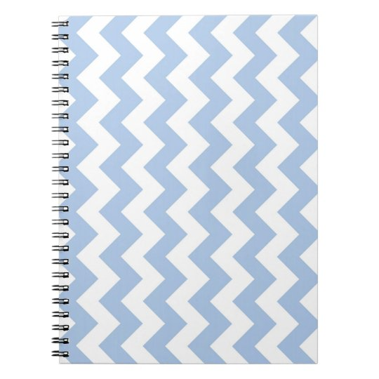 Light Blue and White Zigzag Spiral Notebook