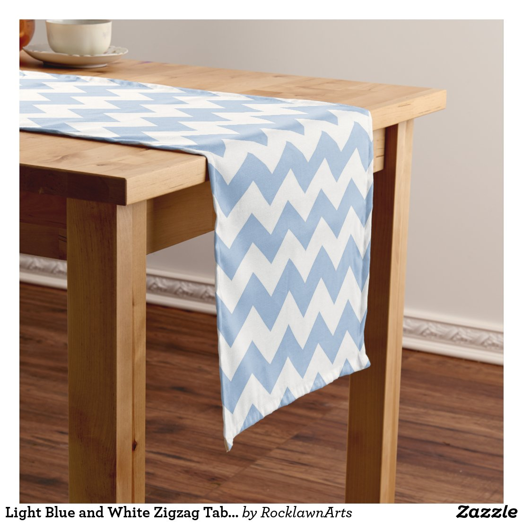 Light Blue and White Zigzag Table Runner
