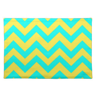 Light Blue And Yellow Chevrons Placemat