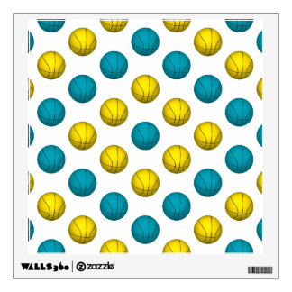 Light Blue and Yellow Gold Basketball Pattern Wall Sticker