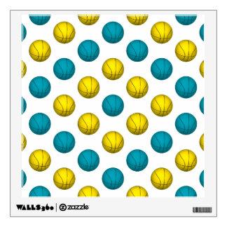 Light Blue and Yellow Gold Basketball Pattern Wall Sticker