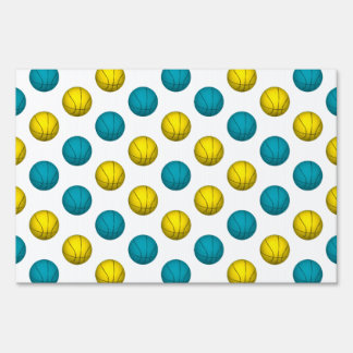 Light Blue and Yellow Gold Basketball Pattern Sign