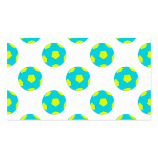 Light Blue and Yellow Soccer Ball Pattern Business Card