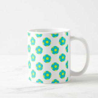 Light Blue and Yellow Soccer Ball Pattern Coffee Mug