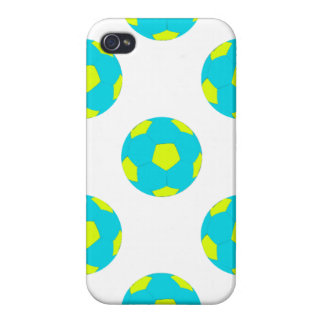 Light Blue and Yellow Soccer Ball Pattern iPhone 4/4S Case