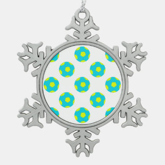 Light Blue and Yellow Soccer Ball Pattern Snowflake Pewter Christmas Ornament