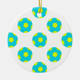 Light Blue and Yellow Soccer Ball Pattern Double-Sided Ceramic Round Christmas Ornament
