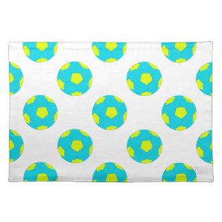Light Blue and Yellow Soccer Ball Pattern Placemat