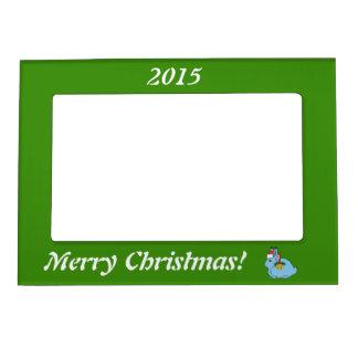 Light Blue Arctic Hare - Santa Hat & Gold Bell Magnetic Frame