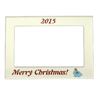 Light Blue Arctic Hare - Santa Hat & Gold Bell Magnetic Picture Frame