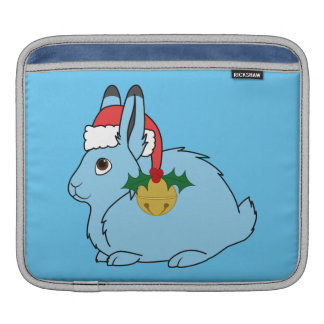Light Blue Arctic Hare - Santa Hat & Gold Bell Sleeve For iPads