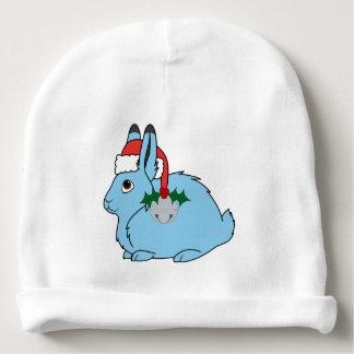 Light Blue Arctic Hare - Santa Hat & Silver Bell