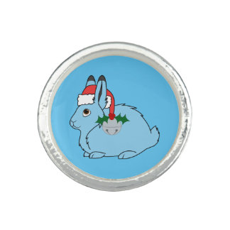 Light Blue Arctic Hare - Santa Hat & Silver Bell Photo Ring