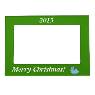 Light Blue Arctic Hare - Santa Hat & Silver Bell Picture Frame Magnets