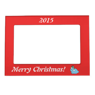 Light Blue Arctic Hare with Green Santa Hat Magnetic Picture Frame