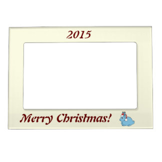 Light Blue Arctic Hare with Red Santa Hat Magnetic Frame