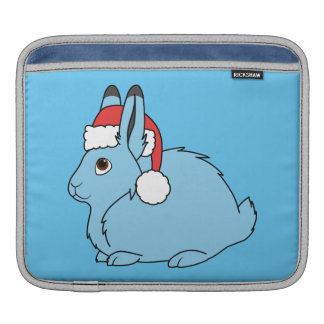 Light Blue Arctic Hare with Red Santa Hat Sleeve For iPads