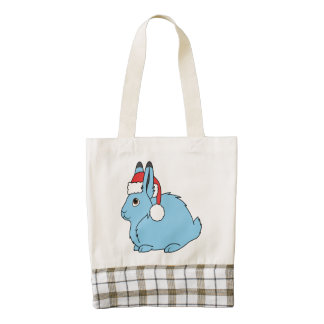 Light Blue Arctic Hare with Red Santa Hat Zazzle HEART Tote Bag
