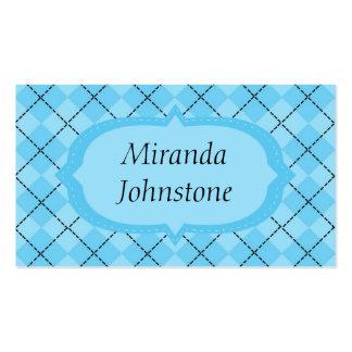 Light Blue Argyle Business Cards