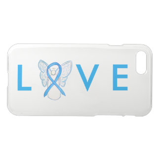 Light Blue Awareness Angel Ribbon iPhone 7 Case