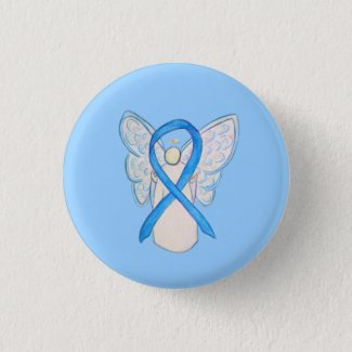 Light Blue Awareness Ribbon Angel Art Pin Buttons