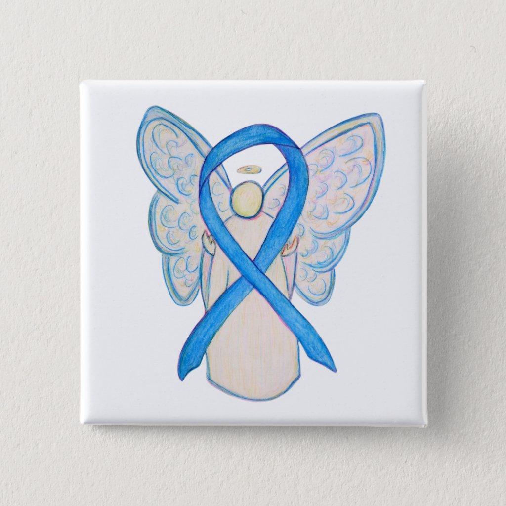 Light Blue Awareness Ribbon Angel Custom Buttons
