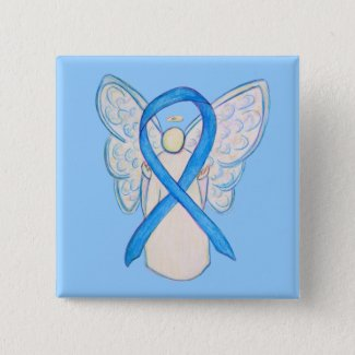 Light Blue Awareness Ribbon Angel Custom Buttons